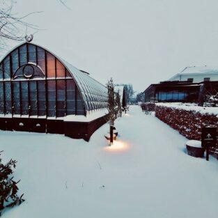 Kas en tuin Welgelegen Groenlo in de sneeuw